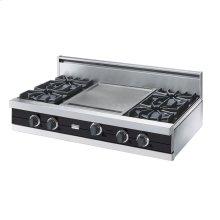 "Graphite Gray 42"" Open Burner Rangetop - VGRT (42"" wide, four burners 18"" wide griddle/simmer plate)"