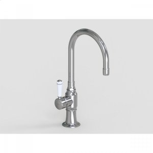 """Brushed Stainless - 7"""" Deck Mount Single Hole Swivel Bar Faucet Spout with Left White Ceramic Contemporary Lever Product Image"""
