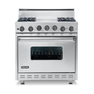 "Cotton White 36"" Open Burner Self-Cleaning Range - VGSC (36"" wide range with four burners, 12"" wide char-grill, single oven)"