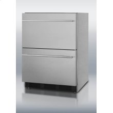 Two-drawer outdoor beverage refrigerator for built-in or freestanding use; complete stainless steel construction