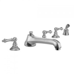 Antique Brass - Westfield Roman Tub Set with Low Spout and Ball Lever Handles and Angled Handshower Mount Product Image