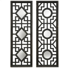 Set of 2 Wooden Wall Mirrors  24in X 35in