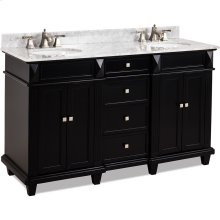 "60"" double vanity with Black finish, clean lines and tapered feet with preassembled bowl and top."