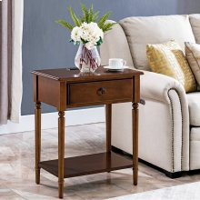Pecan Coastal Nightstand/Side Table with AC/USB Charger #20022-PC