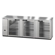 HBB-4G-LD-95-S, Refrigerator, Three Section, Stainless Steel Back Bar Back Bar, Glass Doors