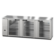 HBB-4G-LD-95-S, Refrigerator, Three Section, Stainless Steel Back Bar Back Bar, Glass Doors