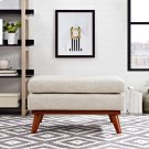 Engage Upholstered Fabric Ottoman in Beige Product Image