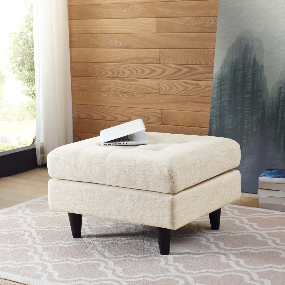 Empress Upholstered Fabric Ottoman in Beige