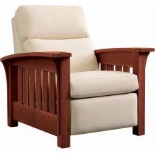 Wall Recliner Bustle Back Upholstery, Oak Bow Arm Morris Recliner