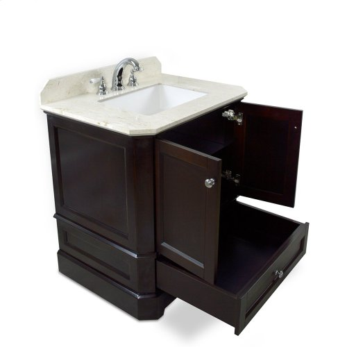 Walnut Brown RICHMOND 30-in Single-Basin Vanity Cabinet with Carrara Marble Stone Top and Muse 18x12 Sink