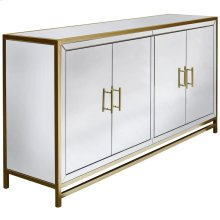 OLIVER SIDEBOARD  Beveled Mirror with Brass Trim  4 Door