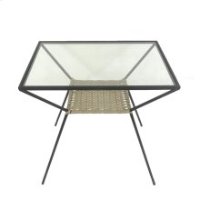 Black Metal/glass Rattan Accent Table