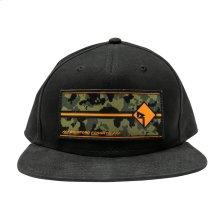 Black Snapback Hat w/ Camo RF Graphic