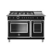 48 inch Dual Fuel Range, 6 Brass Burners and Griddle, Electric Self Clean Oven Matt Black