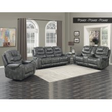 Steve Silver Park Avenue Grey Pwr-Pwr-Pwr 3PC Reclining Sofa, Loveseat & Recliner