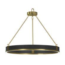 Round Contemporary Ebonised Oak & Brass Chandelier
