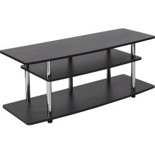 Deerfield Black TV Stand with Shelves and Stainless Steel Legs