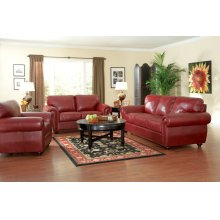 LOVESEAT/BURGUNDY FINISH 69''Lx37-1/2''Wx37''H