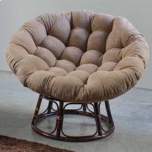 Bali 42-inch Rattan Papasan Chair with Microsuede Fabric Cushion - Walnut/Java