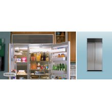 "36"" Refrigerator Freezer - 36"" Marvel Side-by-Side Combination Refrigerator Freezer - Stainless Interior with Panel Ready Stainless Steel Doors"