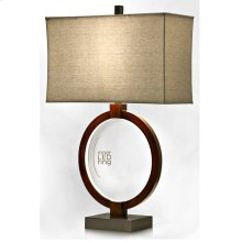 Wood Metal and LED Inner Ring Table Lamp Rectangular White Shade