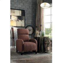 Push Back Recliner Brown Leatherette
