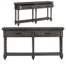 Pembroke Plantation Recycled Pine Distressed Grey Turned Leg 2 Drawer Console Product Image