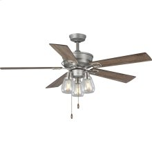 """Teasley Collection 56"""" Five-Blade Ceiling Fan With Glass Shades"""