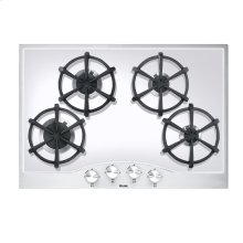 """Stainless Steel/White Glass 30"""" Gas Cooktop - DGCU (30"""" wide, four burners)"""