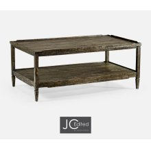 Rectangular Dark Driftwood Coffee Table with Rails & Undertier