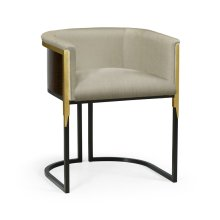 Low Back Black Eucalyptus & Brass Tub Dining Chair, Upholstered in MAZO