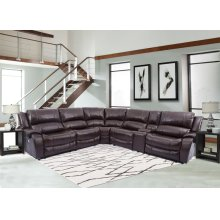 Power Reclining Sectional (3 Recliners) & Console with USB