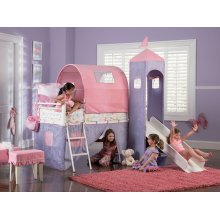 Princess Castle Twin Size Tent Bunk Bed with Slide