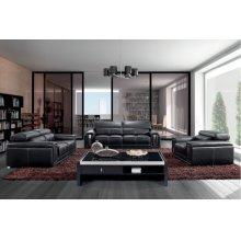 Divani Casa 2992 Modern Black Leather Sofa Set with Headrests