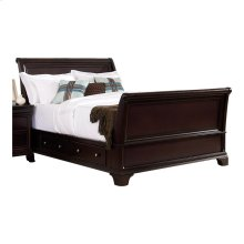 California King Sleigh Platform Bed with Rail Storages