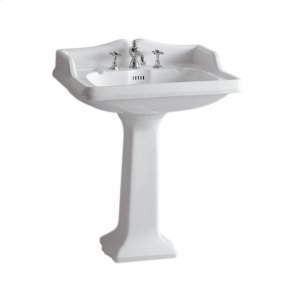 Isabella Collection large, traditional china pedestal with an integrated rectangular bowl, backsplash, dual soap ledges, decorative trim, and overflow. Product Image
