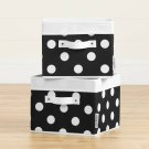 Canvas Baskets, 2-Pack - Black with White Dots Product Image