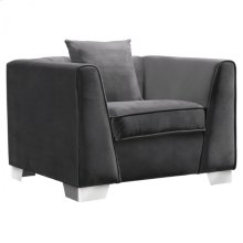 Armen Living Cambridge Contemporary Sofa Chair in Brushed Stainless Steel and Dark Grey Velvet