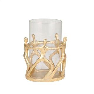 "Resin/glass 11"" 5 Figure Hurricane, Gold"