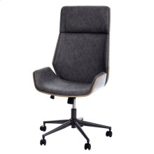 PACEY DESK CHAIR  Faux Distressed Gray Leather with Gray Finish on Hardwood Frame