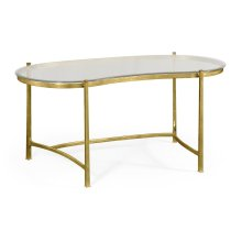 Gilded Kidney Desk with Glass Top