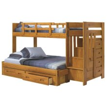 Heartland Reversible Staircase Twin over Full with options: Honey Pine, Twin over Full, 2 Drawer Storage