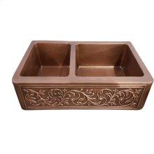 """Cilantro Double Bowl Copper Farmer Sink - 36"""""""