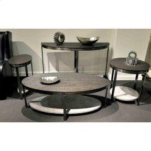 Round Side Table - Weathered Worn Black Finish
