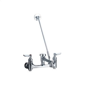 Heavy-duty wall mount service sink faucet with support bracket and lever handles. Product Image