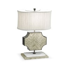 Curved Wide Cross Grey Oak Table Lamp