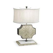 Curved Wide Cross Grey Oak Table Lamp
