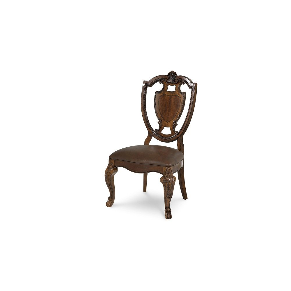 Old World Shield Back Side Chair Leather Seat