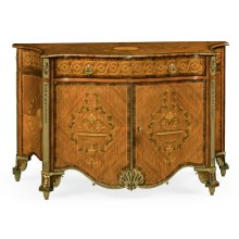 Chippendale style inlaid cabinet chest of drawers