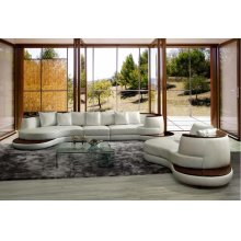 Divani Casa Rodus - Rounded Corner Leather Sectional Sofa With Wood Trim